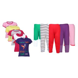Gkidz Girls Pack of 5 Did You Know Theme Printed Tshirts  Pack of 5 Bottoms Combo