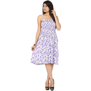Klick2Style Purple Floral Fit & Flare Dress For Women