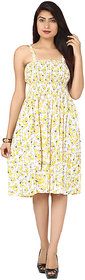 Klick2Style Yellow Floral Fit & Flare Dress For Women