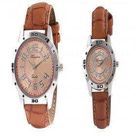 Timebre Khakhi Brown Couple Analog Watches -77