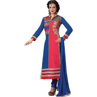 Womens Blue Georgette Anarkali Dress Salwar Suit Material Semi Stitched UFS5003