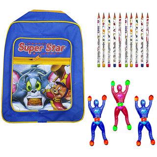 Superstar Bag with 3 Pcs Sticky Man  10 Pcs Natraj Pencils