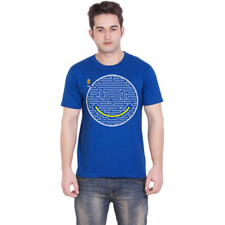 TantraJigsaw Smile - BD Royal Blue Crew Neck T-Shirt for Men