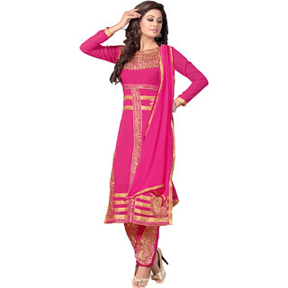 Jiya Presents Embroidered Georgette Straight Unstitched Dress Material(Pink)