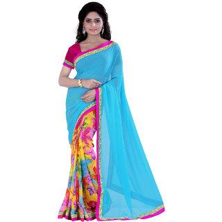 Jiya Multicolor Georgette Printed Saree With Blouse