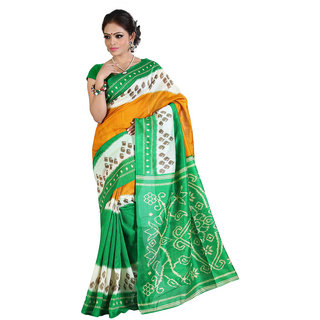 Lovely Look Yellow  Green Printed Saree LLKGPS7006A