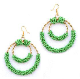 Sparkling Green Pearl Golden Earring