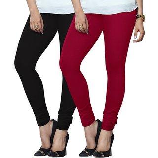 Oviaa Womens Black and Bubble Gum Colour Cotton Churidar Leggings