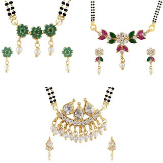 Archi Collection Combo of Gold Plated CZ Mangalsutra Set