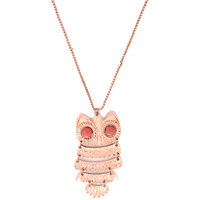 Sparkling Golden Owl Pendent With Red Eyes