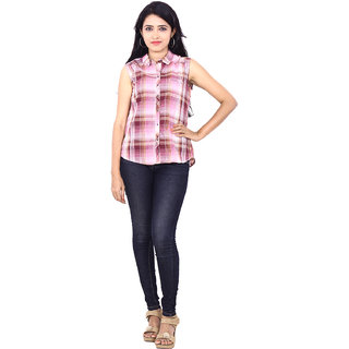 Wrangler Pearl Pink Casual Shirts For Women