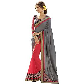 Lovely Look Grey  Pink Embroidered Saree LLK11HTG13127