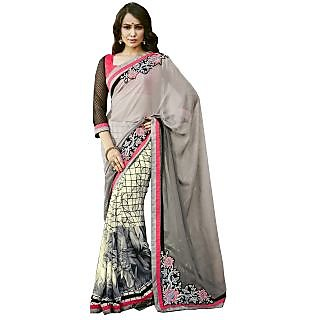 Lovely Look Grey  Cream Embroidered Half  Half Saree LLK2EES3527