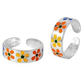 Multicolor Floral Design Engraved Sterling Silver Toe Rings