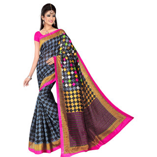 Lovely Look Grey  Black Printed Saree LLKGPS5028