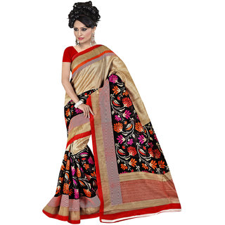 Lovely Look Beige  Black Printed Saree LLKGPS5143