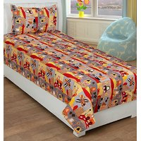 Trendz Cotton Kids Single Bed Sheet With A Pillow Cover Vi126