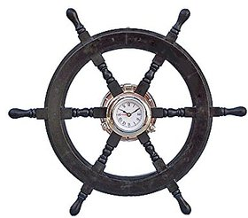 24 Nautical Ship Wheel With 4 Porthole Clock