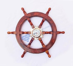 24 Nautical Ship Wheel  3 Porthole Clock - Pirate Home Decor
