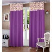 Lushomes Purple Printed Bloomberry Cotton Curtains for Long Door (Single)