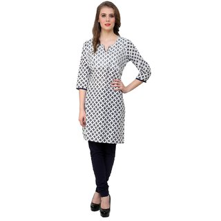 Rangeelo Rajasthan Womens Printed Straight Cotton kurti-RAR47BLUE