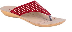 Khadims Cherry Red Slip-on Womens Flats