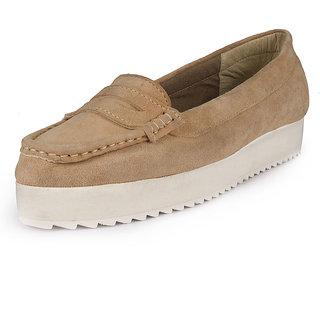 Glety Women's Beige Smart Casuals Shoes