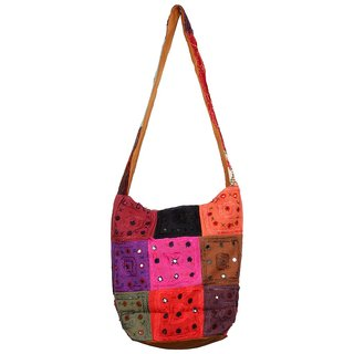 Less Mirror Tukdi work Jhola hand bag