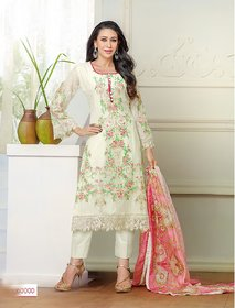 Thankar Off White And Multi Embroidered Georgette Straight Suit