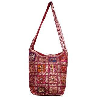 old Sari Less Tukdi work Jhola hand bag