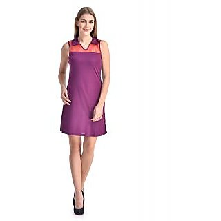 Klick2Style Purple Plain Fit & Flare Dress For Women