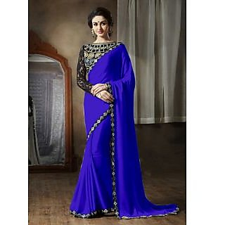 Online Fayda Blue Georgette Embroidered Saree With Blouse