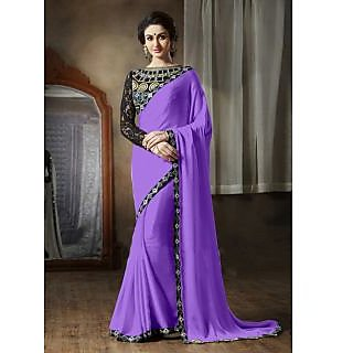 Online Fayda Purple & Black Georgette Embroidered Saree With Blouse