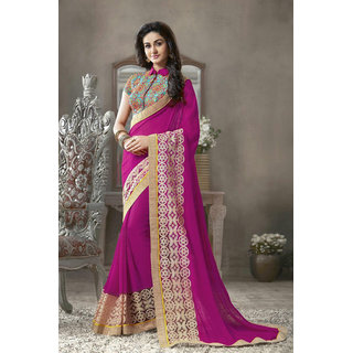 Online Fayda Purple Georgette Embroidered Saree With Blouse