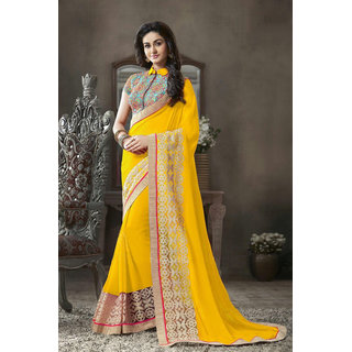Online Fayda Black & Yellow Georgette Embroidered Saree With Blouse