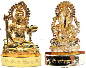 Gold Plated Ganesh Shiv Idols - 2.9 Inches