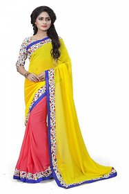 Aashvi Creation Pink  Yellow Georgette Floral Saree With Blouse