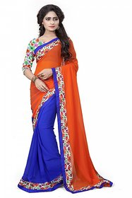 Aashvi Creation Multicolor Georgette Printed Saree With Blouse