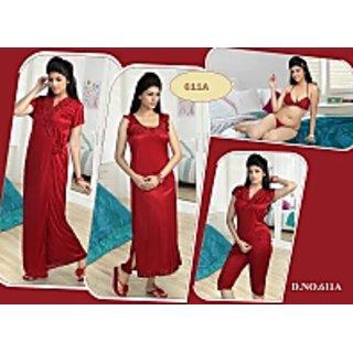 Womens 6pc Bra Panty Top Capri Nighty  Over Coat 611A Maroon Nightwear set Bedroom wear