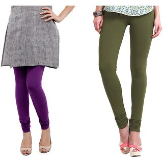 Aakriti Purple Cotton Lycra Leggings