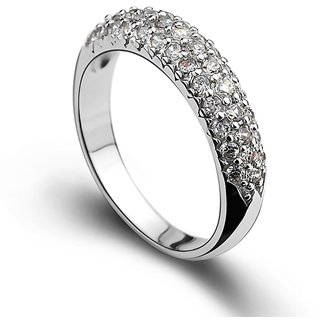 RM Jewellers CZ 92.5 Sterling Silver American Diamond Amazing Ring For Women