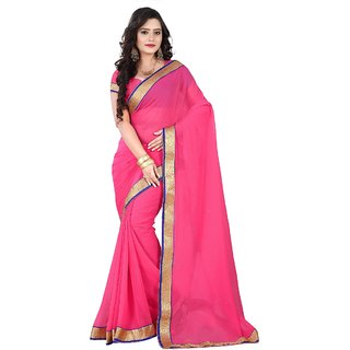 Aagaman Fashion Amazing Pink Colored Border Worked Chiffon Saree
