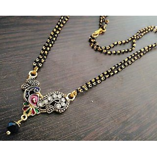 22k gold plated meena enamel peacock mangalsutra with black beads double chain m-4