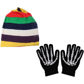 susshito Colour Strap Multi Use Cap With Hand Gloves JSMFHCP1362-JSMFHHG0037