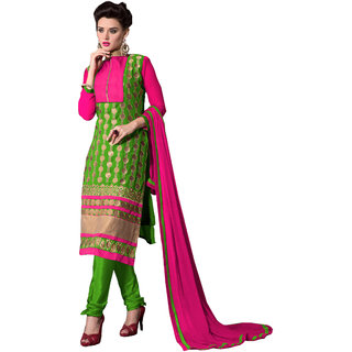 Khoobee Presents Embroidered Georgette Dress Material(Pink,Green)
