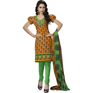 Khoobee Presents Embroidered Cotton Chudidar Unstitched Dress Material(Orange,Green)