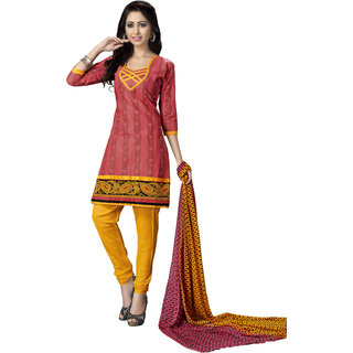 Khoobee Presents Embroidered Cotton Chudidar Unstitched Dress Material(Dark Peach,Yellow)