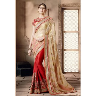 Vastrani Beige & Red Georgette Embroidered Saree With Blouse