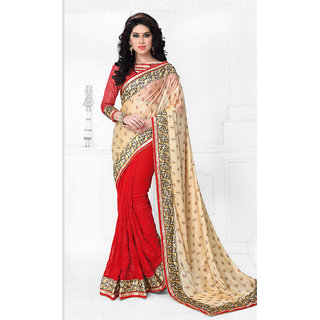 Vastrani Red & Cream Lycra Embroidered Saree With Blouse