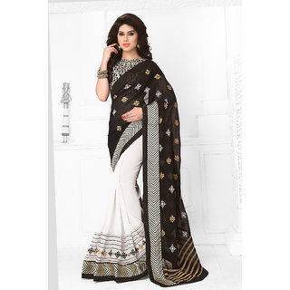 Vastrani  Black and White Embroidered Polyester Viscose and Georgette Party Wear Saree 137S417